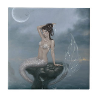 Moon Tide Mermaid Art Tile