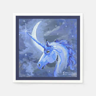 Moon Unicorn Blue Napkin Disposable Napkins