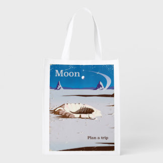 Moon - vintage Sci-fi travel poster Reusable Grocery Bag