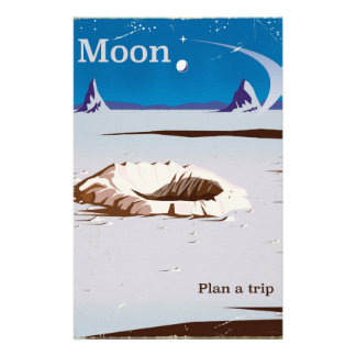Moon - vintage Sci-fi travel poster Stationery