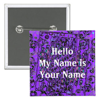 Moon walk design , Hello My Name is Your Name 15 Cm Square Badge