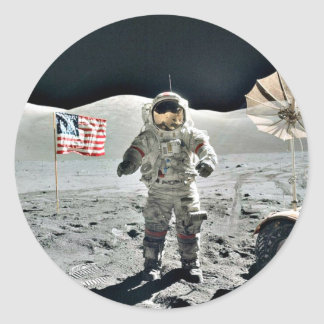 Moon Walk with American Flag Classic Round Sticker