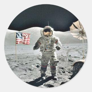 Moon Walk with American Flag Round Sticker