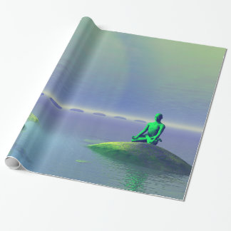 moon white and hills green wrapping paper