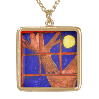 """""""Moon Window Watching"""" art by Beth Wellesley Gold Plated Necklace"""