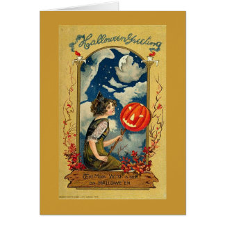 Moon Witch Halloween Greeting Card