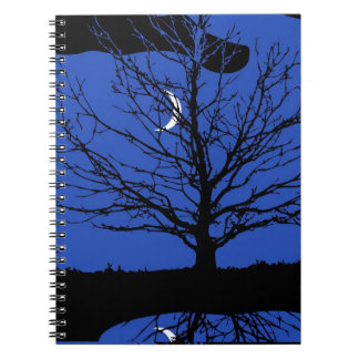 Moon with Tree, Cobalt Blue, Black and White Notebook