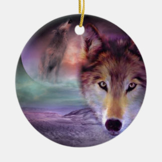 Moon Wolf Ceramic Ornament