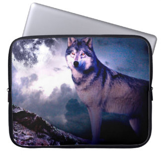 Moon wolf - gray wolf - wild wolf - snow wolf laptop sleeve