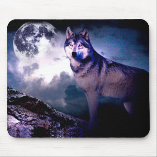Moon wolf - gray wolf - wild wolf - snow wolf mouse pad