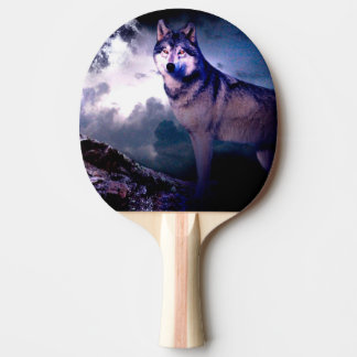 Moon wolf - gray wolf - wild wolf - snow wolf ping pong paddle