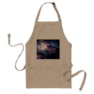 Moon wolf - gray wolf - wild wolf - snow wolf standard apron