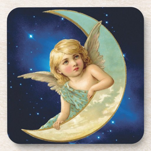 Moonbeam - Angel and Moon Collage Coasters