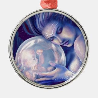 Moonborn - Mermaid and Baby Metal Ornament
