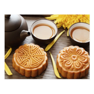Mooncake and tea,Chinese mid autumn festival Postcard