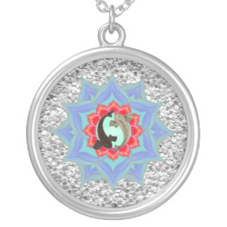 .::MoonDreams::. Koi Lotus Silver Mandala Silver Plated Necklace