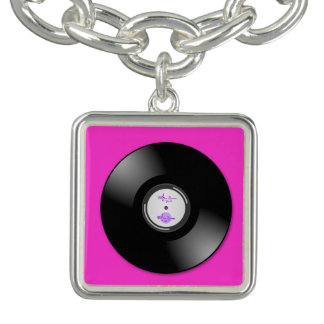 MoonDreams Music Hot Pink Record Sq. CharmBracelet