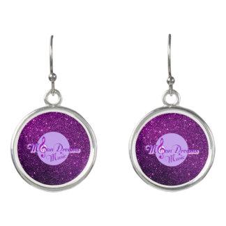 MoonDreams Music Purple Faux Glitter Earrings