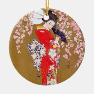 Moonlight and Cherry Blossoms Ceramic Ornament