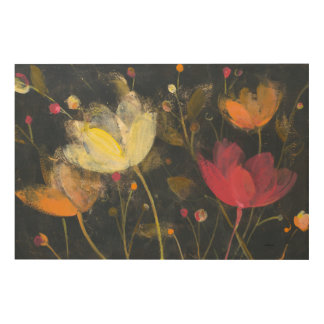 Moonlight Garden on Black Wood Wall Decor