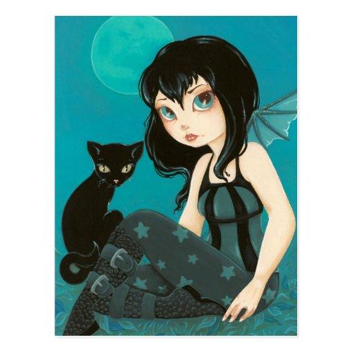 Moonlight Hijinks- Fairy Black cat postcard