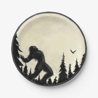 Moonlight Howl paper plate in black