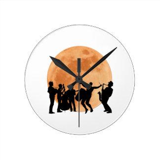 Moonlight Jazz Round Clock