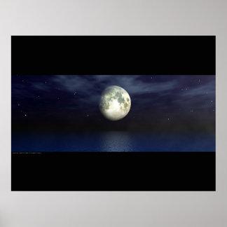 Moonlight Ocean - Widescape Poster