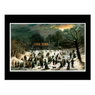 Moonlight Skating in Central Park Postcard
