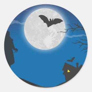 Moonlight sky classic round sticker