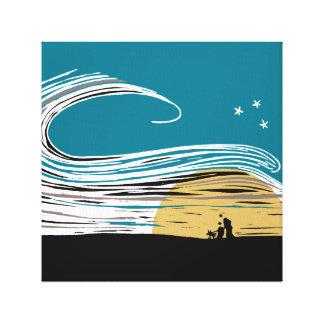 Moonlight Stroll (full colour) Canvas Prints
