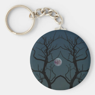 Moonlight Tree Silhouette Basic Round Button Key Ring