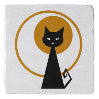Moonlit Black Cat Trivet
