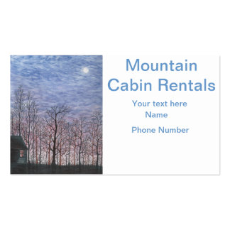 Moonlit Cabin in Winter Business Cards
