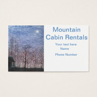 Moonlit Cabin in Winter Business Card
