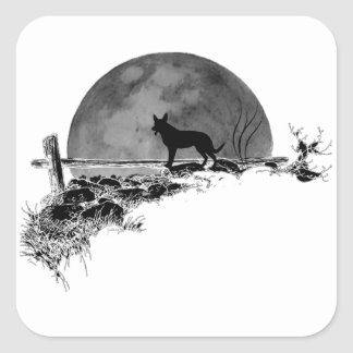 Moonlit Dog Square Sticker