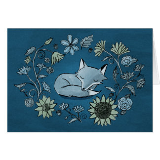 Moonlit Fox and Flowers Card