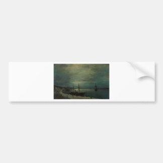 Moonlit harbour by Konstantinos Volanakis Bumper Sticker
