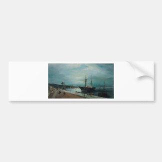 Moonlit harbour of Volos by Konstantinos Volanakis Bumper Sticker