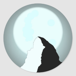 Moonlit Mountain Classic Round Sticker