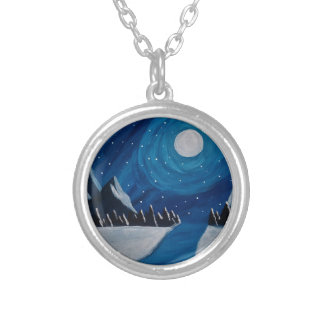 Moonlit Mountains Silver Plated Necklace