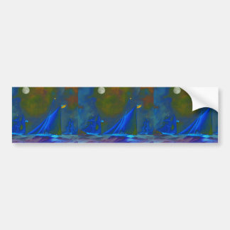 Moonlit Night Ships Sailing on the Ocean Bumper Stickers