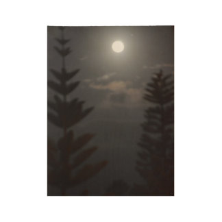 Moonlit Pines Wood Poster