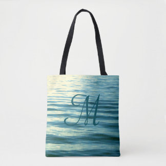 Moonlit Sea Monogrammed Nautical Tote Bag