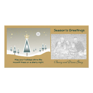 Moonlit Trees on a Starry Night Holiday Photo Card