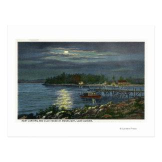 Moonlit View of Lake, Boat Landing & the Postcard