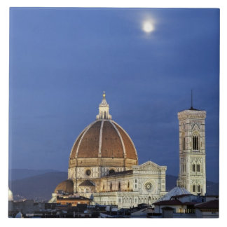 Moonrise and Florence Cathedral, Basilica di Ceramic Tile