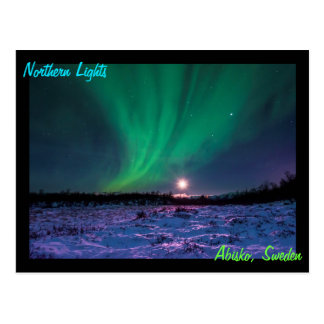 Moonrise and the Northern Lights In Sweden Postcard