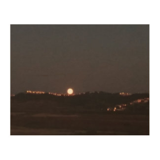 Moonrise on the hills wood wall decor