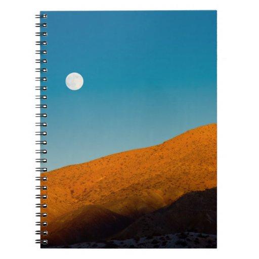 Moonrise over Mojave desert Spiral Note Books